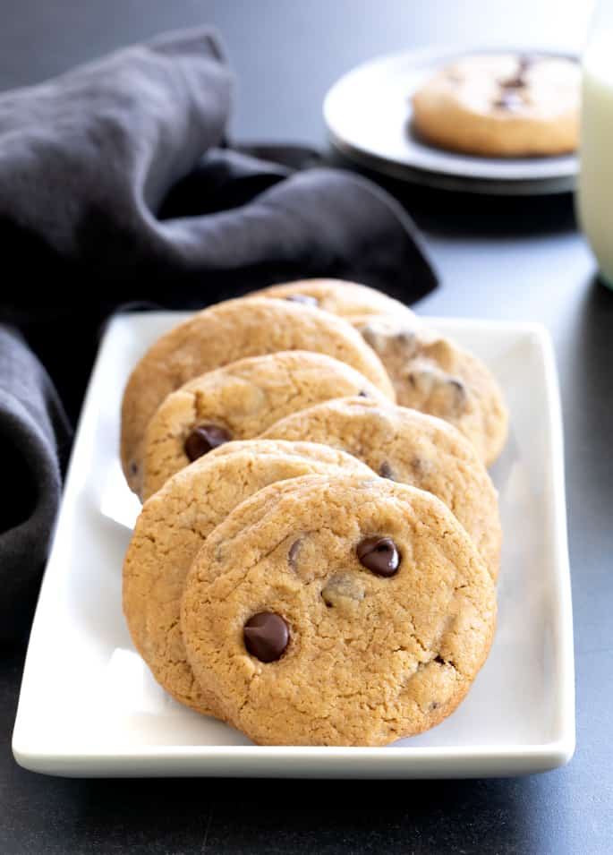 These thick and chewy gluten free peanut butter chocolate chip cookies are made with plenty of peanut butter and brown sugar.