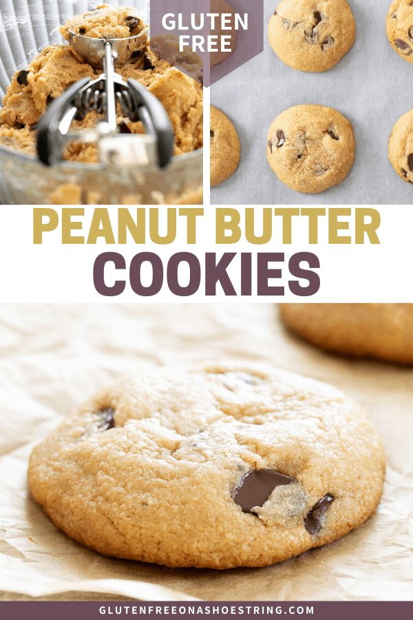 Peanut Butter Chocolate Chip Cookies raw in a bowl and baked on a tray