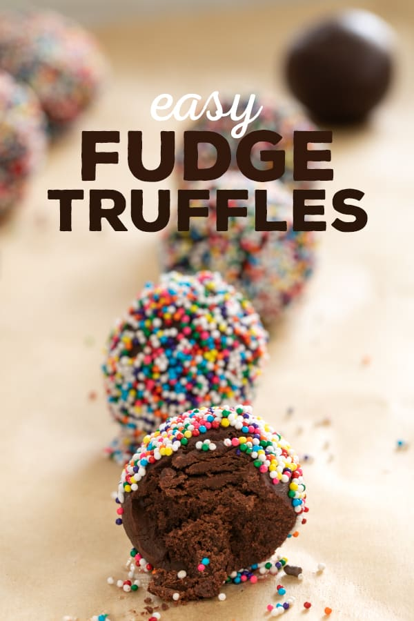 A close up of a fudge truffle with a bite taken