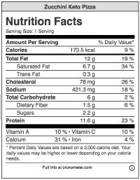 Nutrition label for zucchini keto pizza