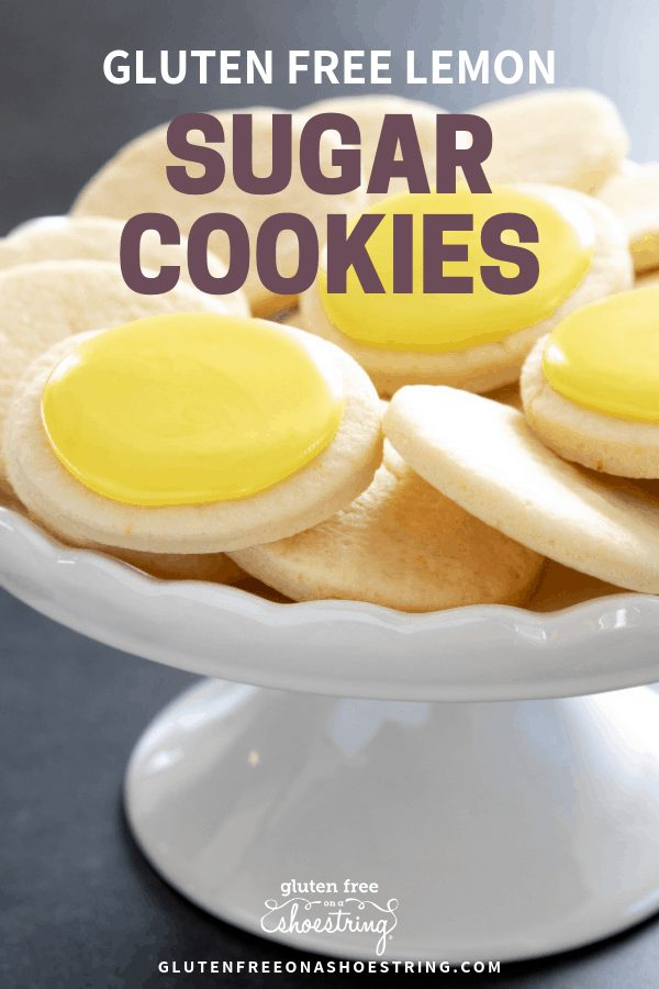 These soft, chewy cutout gluten free lemon sugar cookies are just like Lofthouse cookies, but with a simple lemon icing and just enough bright, citrus flavor. #glutenfree #gf #sugarcookies #lemon