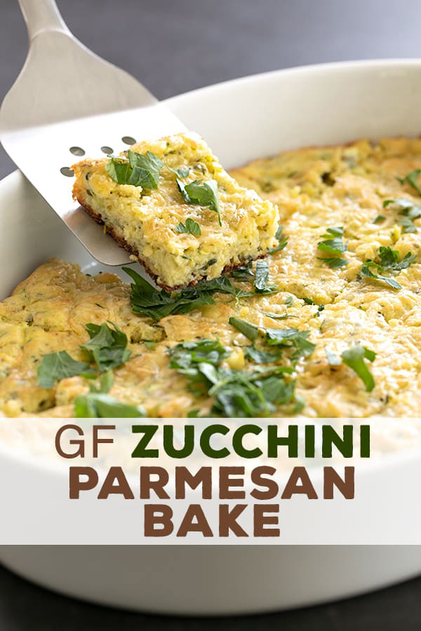 Make good use of that abundant summer squash in this easy recipe for savory gluten free zucchini parmesan squares. Perfect for a picnic lunch or a snack! #glutenfree #snack #zucchini #summer #gf