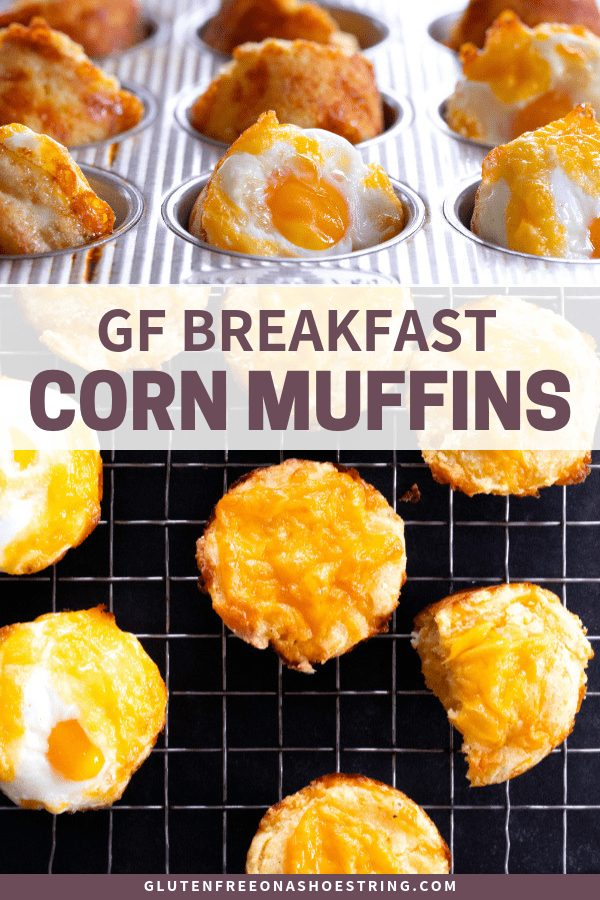 These savory gluten free breakfast corn muffins can be made with or without a whole egg cracked right on top before they go into the oven. The perfect make-ahead breakfast for busy mornings! #glutenfree #gf #breakfast #corn #eggs