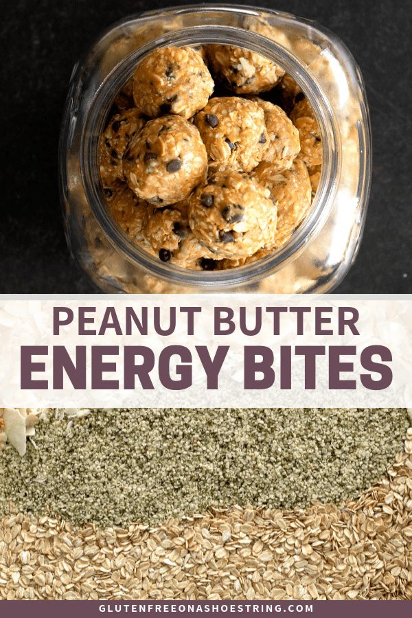 These no bake peanut butter energy bites are delicious, satisfying and so easy to make. And they're naturally gluten free, too! #glutenfree #snacks #energy #oats #peanutbutter