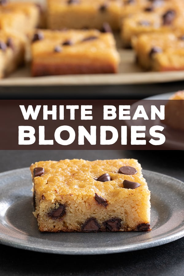 White bean blondies, like their black bean brownie cousins, taste nothing like beans but still have all that added nutrition. You will not believe the taste and texture! #glutenfree #gf #beans #brownies #blondies