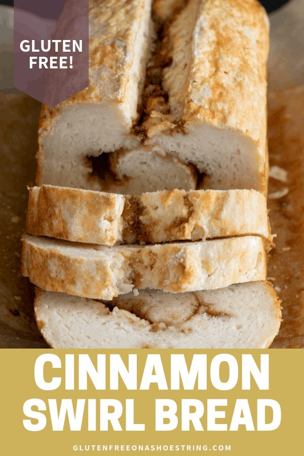 Nothing compares to the flavor and aroma of freshly baked gluten free cinnamon swirl bread coming out of your oven. It even keeps and reheats well! #glutenfree #gf #cinnamonsugar #swirl #bread