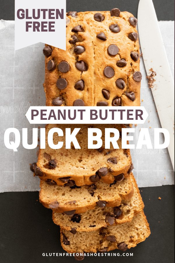 Low in sugar and with no added butter or oil, this gluten free peanut butter bread is still moist, tender, and full of peanut flavor. #peanutbutter #quickbread #glutenfreerecipes