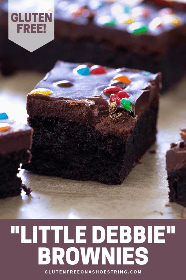 These Little Debbie gluten free brownies are just as fudgy and chewy as you remember, and they're made with regular gluten free pantry ingredients. You'll want to make them immediately! #glutenfreerecipes #gf #brownies #littledebbie