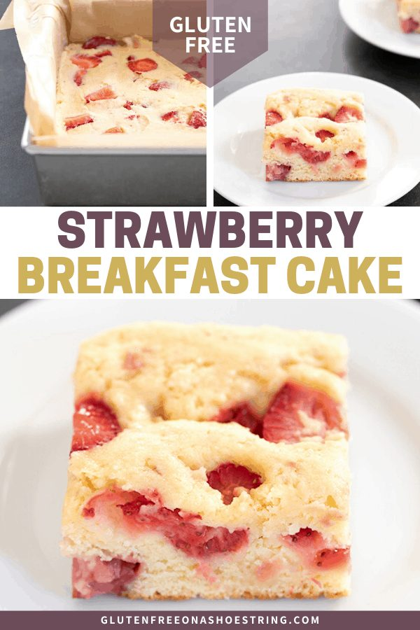strawberry breakfast cake in the pan and on a plate
