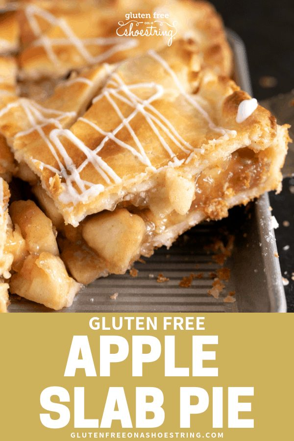 This gluten free apple slab pie is packed with apples cooked to tender perfection and surrounded by an extra flaky, lightly sweet pie crust. The perfect way to feed a crowd! #glutenfreerecipes #applepie #fallbaking #
