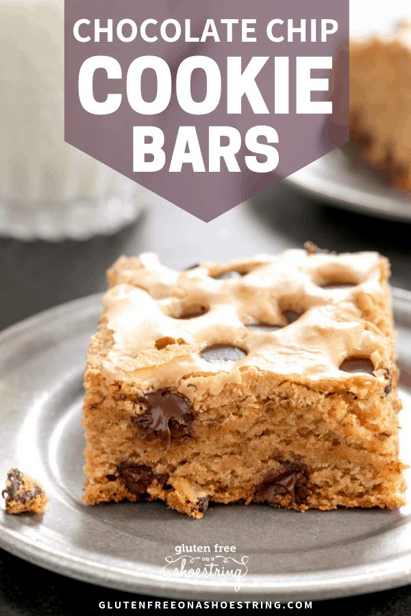 These thick and chewy gluten free chocolate chip cookie bars are the easiest way to bake up everyone's favorite chocolate chip cookies in a single square baking pan. #glutenfreerecipes #gf #cookies #bars