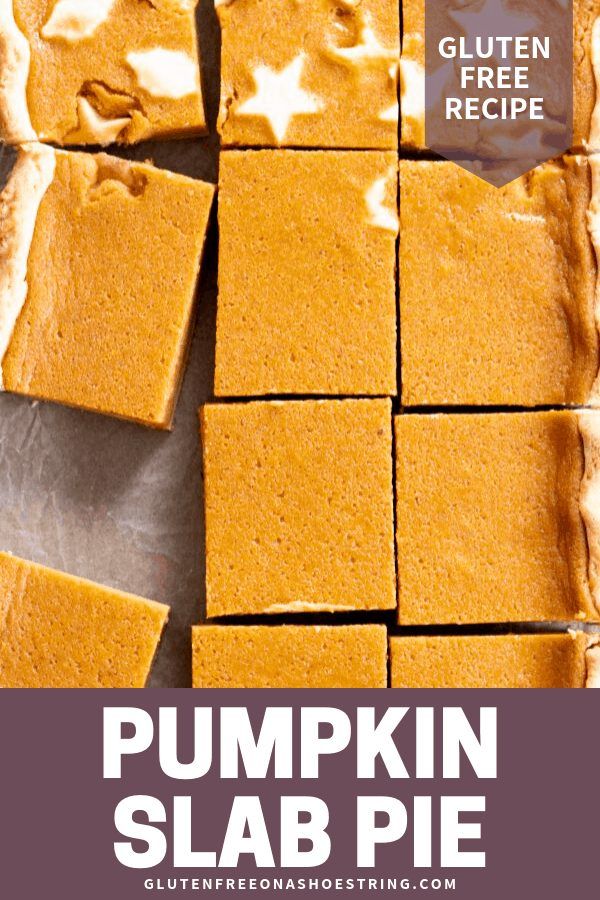 This gluten free pumpkin slab pie is made with an extra flaky pie crust and a rich and creamy, lightly spiced pumpkin filling. Feed a crowd, or just make sure you have leftovers!