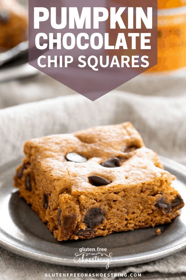 These super tender gluten free pumpkin chocolate chip squares are rich with warm spices and chocolate chips. An easy alternative to pumpkin pie!