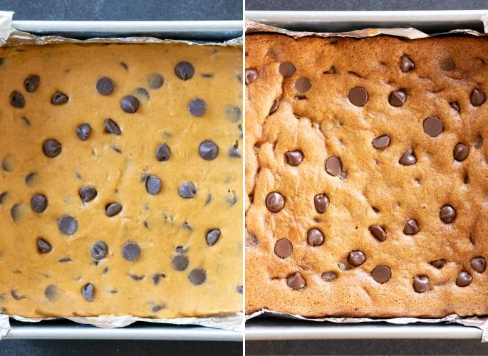 Overhead image of raw and baked gluten free pumpkin chocolate chip squares