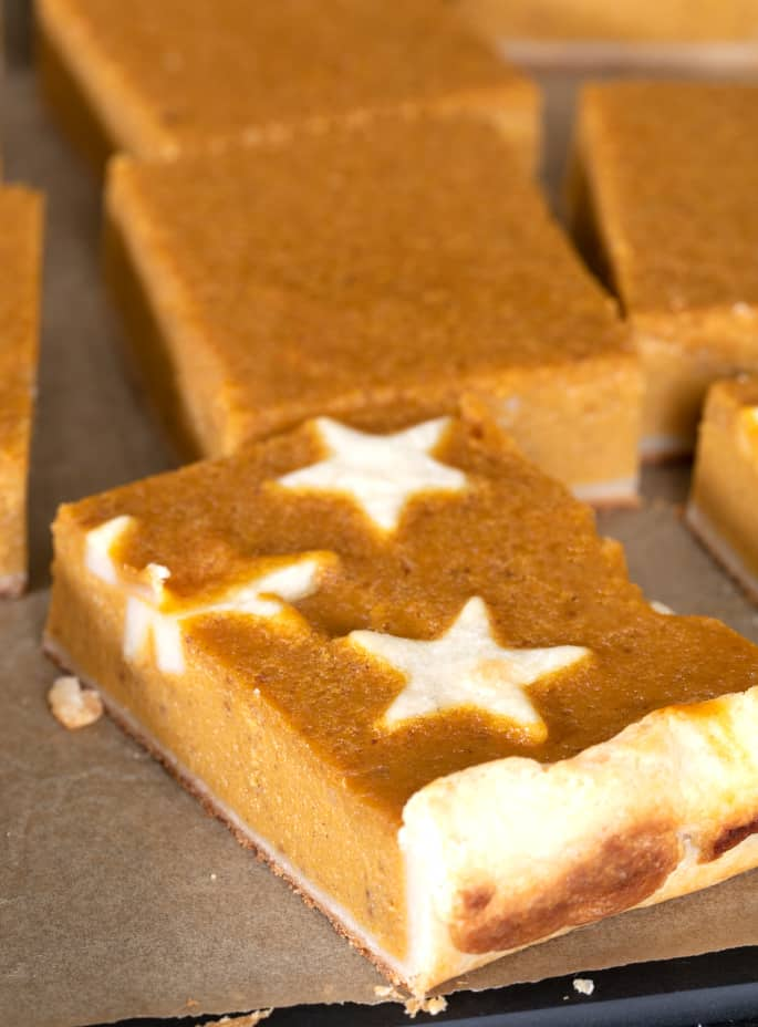 Closeup of a single slice of gluten free pumpkin slab pie