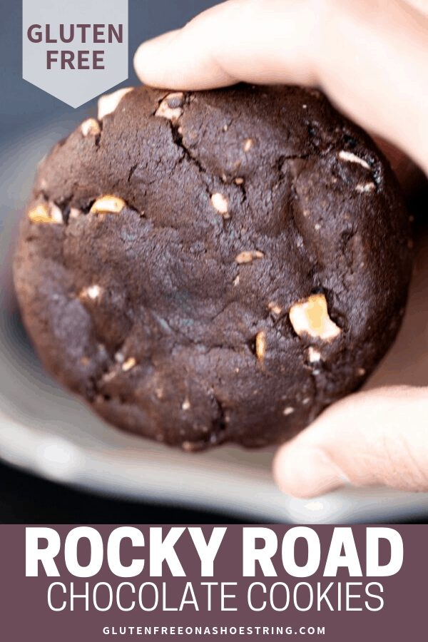 These super thick gluten free rocky road chocolate cookies are rich double chocolate chip cookies packed with nuts and marshmallows. #glutenfreerecipes #rockyroad #chocolate #cookies