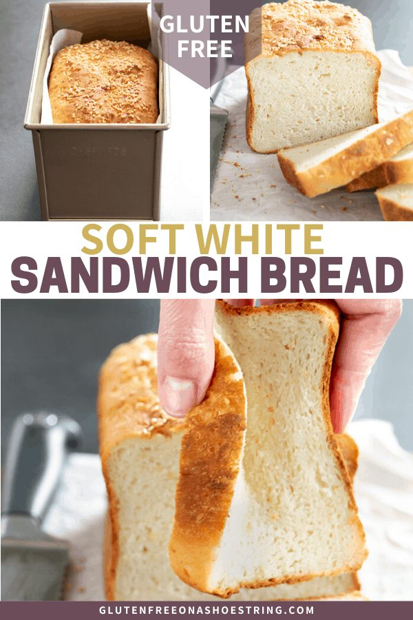 Gluten free white sandwich bread with seeds pictured baked in pan, sliced, and being squeezed.