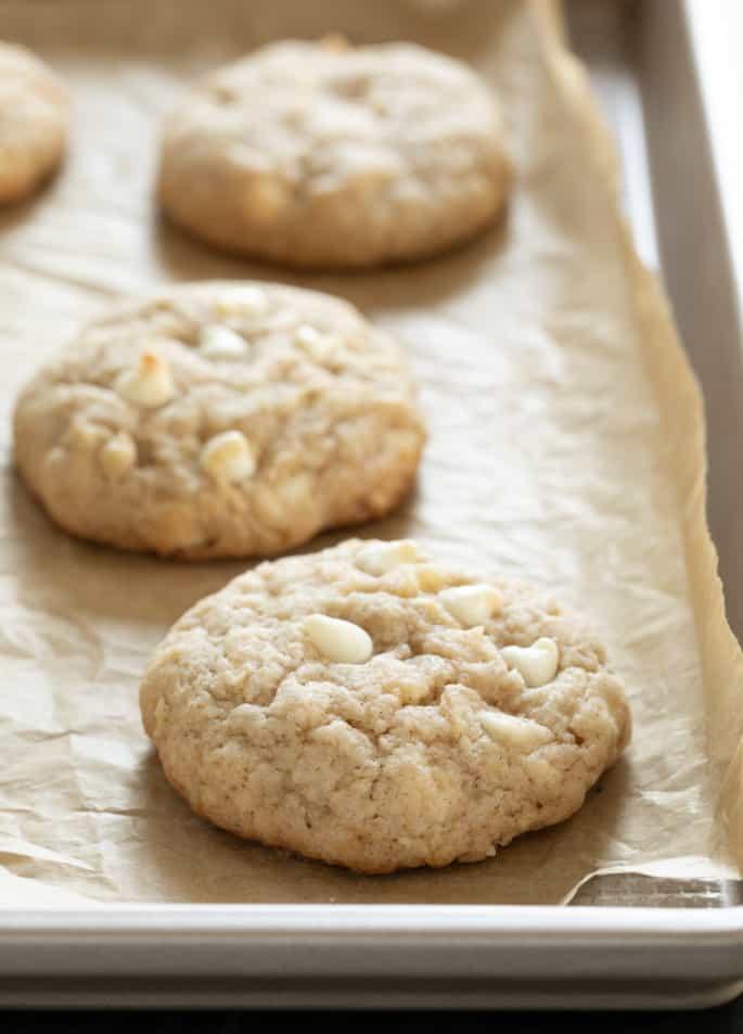 Gluten free apple pie cookies baked on tray