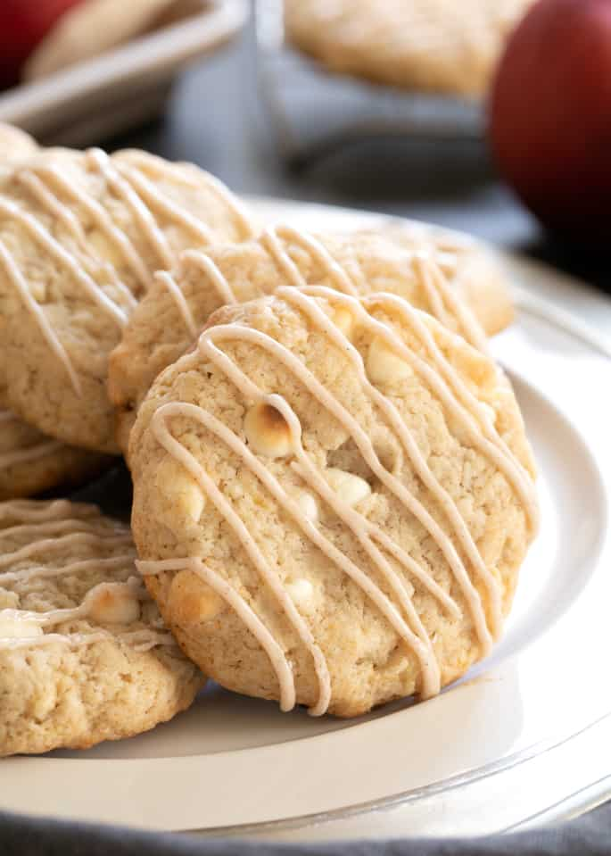 These gluten free apple pie cookies are a simpledrop cookie with all the taste of apple pie, plus a little extra sweetness from white chocolate chips.