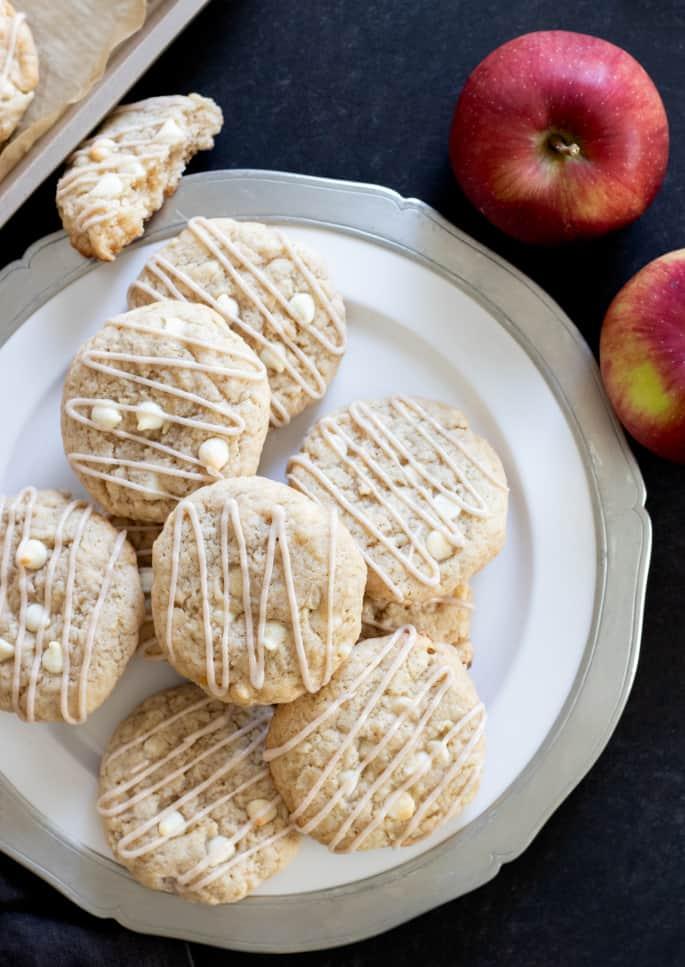 Overhead image of gluten free apple pie cookies on a platter.