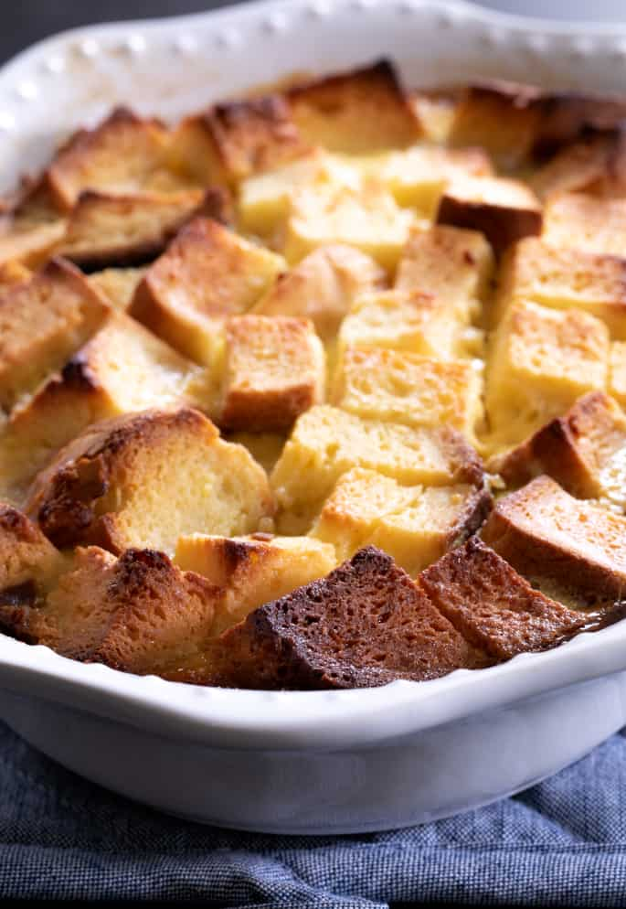 Gluten free bread pudding baked in casserole dish.