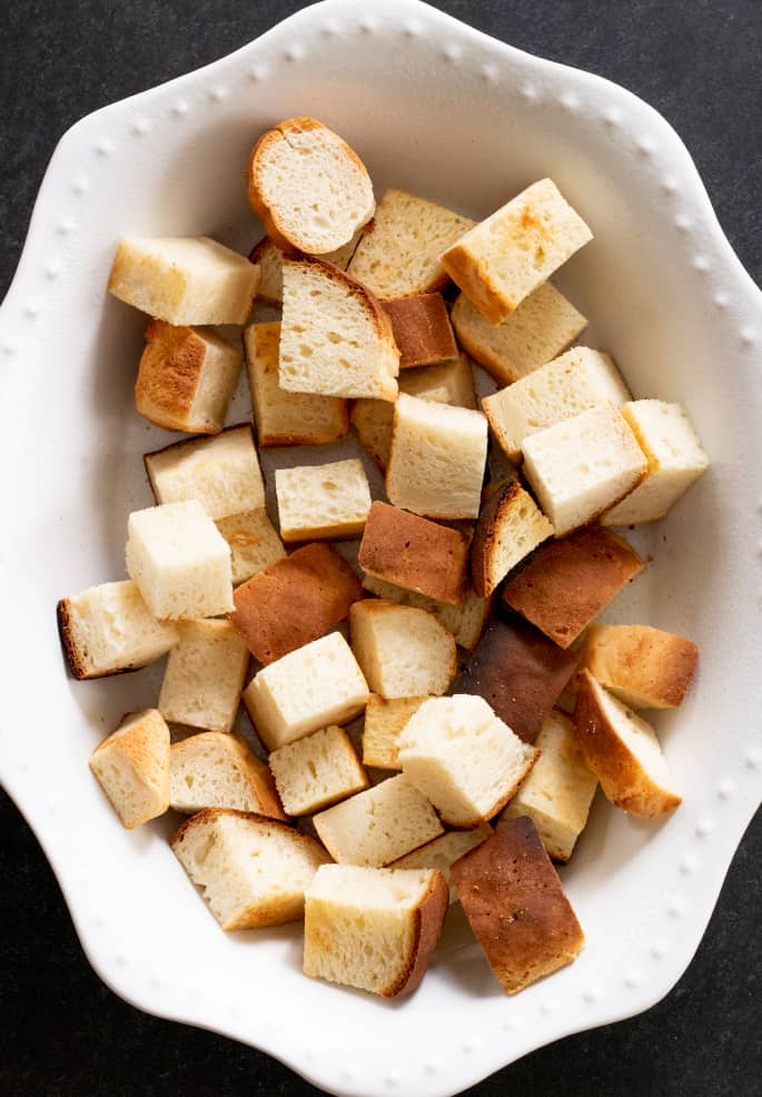 Overhead image of cubed pieces of gluten free bread.