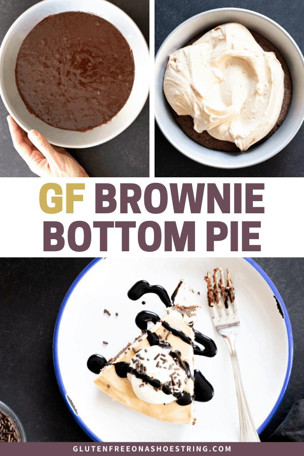 This rich and fudgy gluten free brownie bottom pie has a silky no bake peanut butter mousse-like filling, but the brownies are the main event.