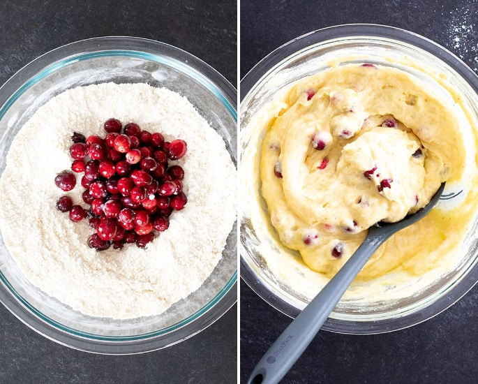 Images of batter for gluten free cranberry cornbread.