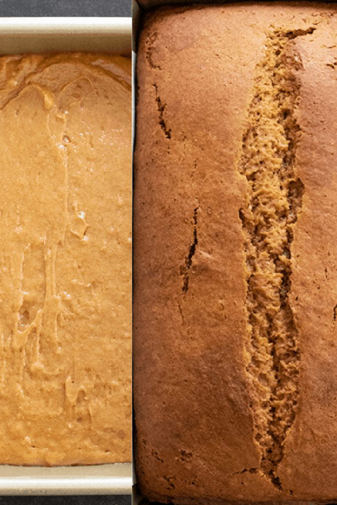 Raw and baked images of gluten free gingerbread loaf, pictured overhead.