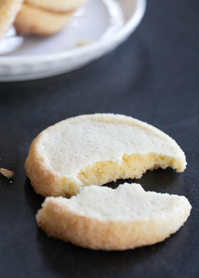 The chewy inside and crisp outside of a gluten free sable cookie.