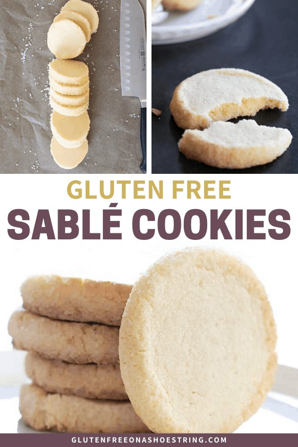 Raw, sliced gluten free sable cookies and baked cookies, sparkling edges and chewy center.