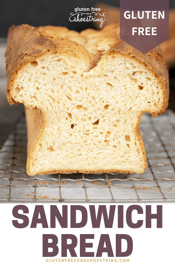 Tom's gluten free sandwich bread shown raw, baked, and sliced so you can view the center of the loaf.