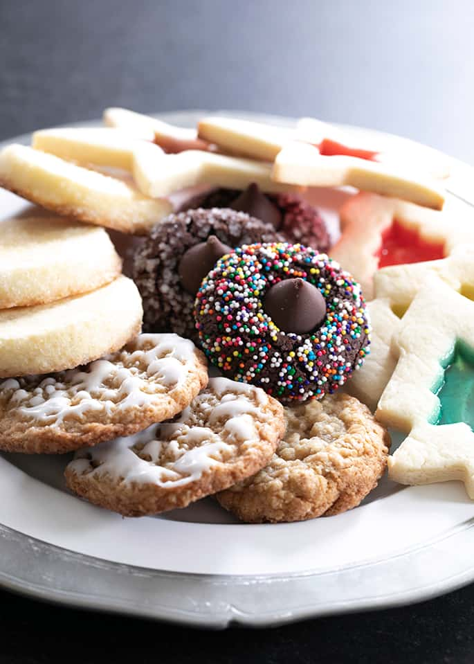 A holiday cookie plate with an assortment of the best gluten free cookies of 2019.