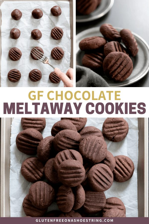 Chocolate gluten free meltaway cookies being shaped and baked, in a generous pile of cookies.