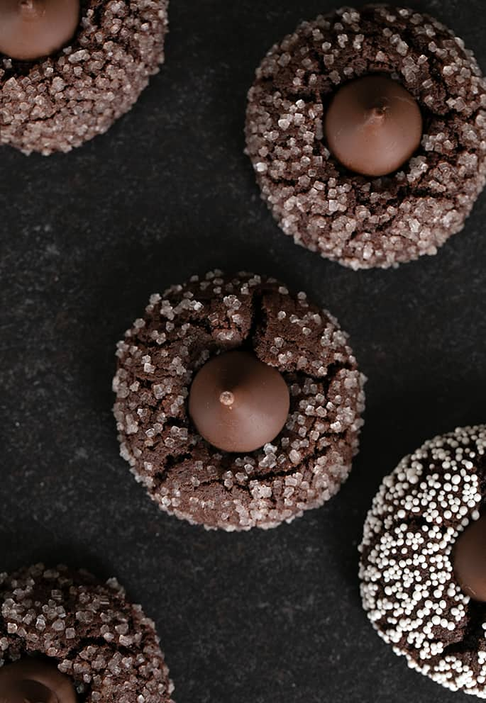 Overhead image of a few gluten free chocolate kiss cookies.