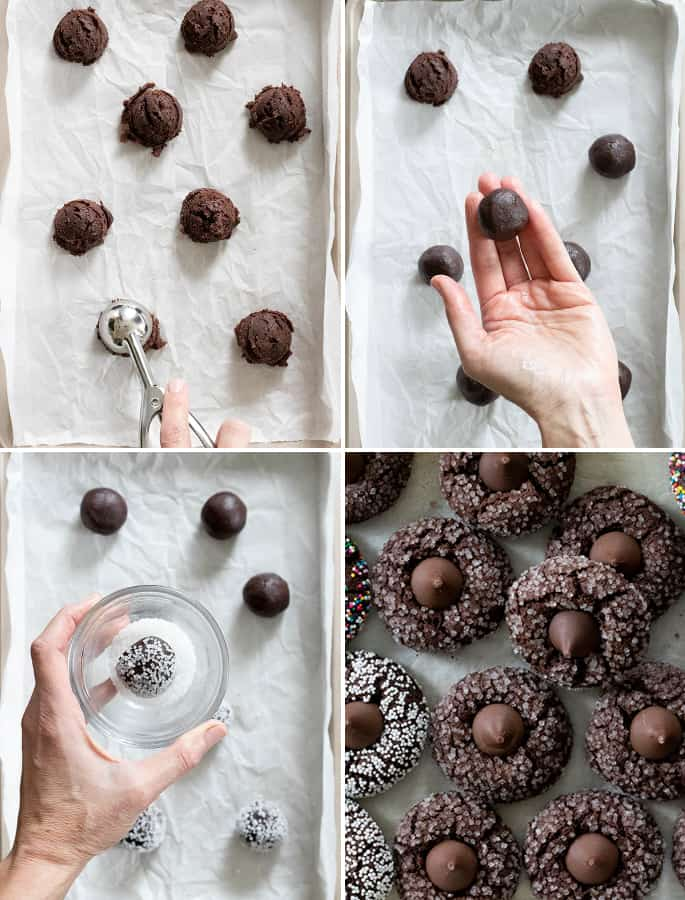 Image collage showing step by step how to make gluten free chocolate kiss cookies.