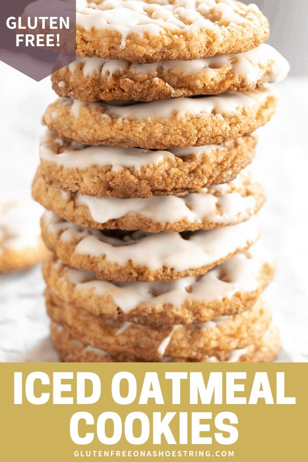 These easy gluten free iced oatmeal cookies are soft and chewy in the center, and crisp around the edges. A light coating of icing on top makes them extra beautiful!