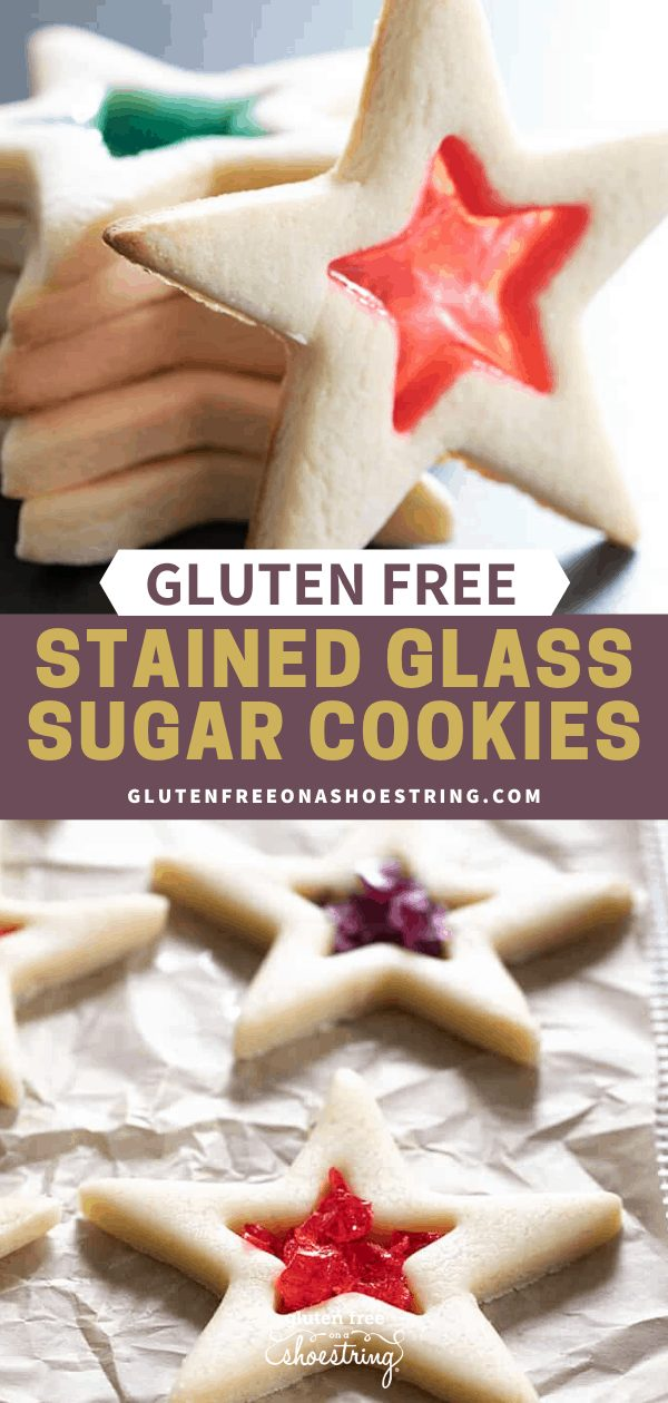 Images of raw and baked stained glass gluten free sugar cookies in a star shape.
