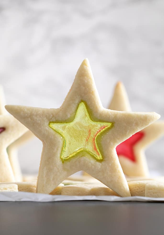Image of one stained glass sugar cookie standing up