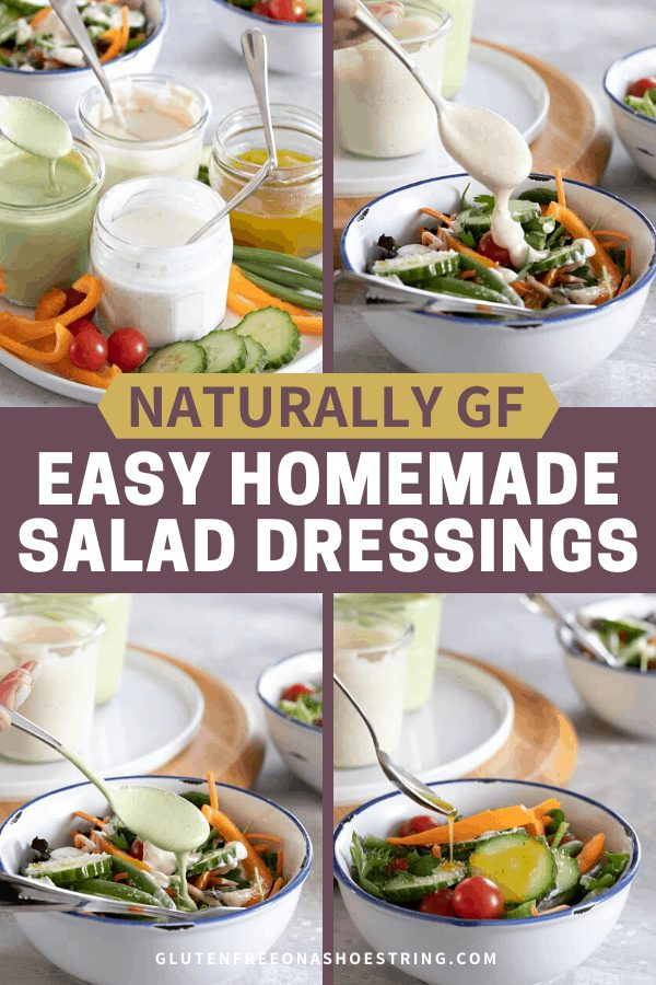 Easy homemade salad dressingsmake amazing marinades for chicken of every sort, as a dip for vegetables of all kinds, and of course to dress your salads. Make only what you need!