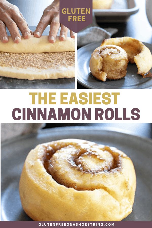 """The """"2 ingredient"""" bread dough made famous by Weight Watchers is a shortcut way to make easy gluten free cinnamon rolls that taste like the yeasted kind and make any morning special."""