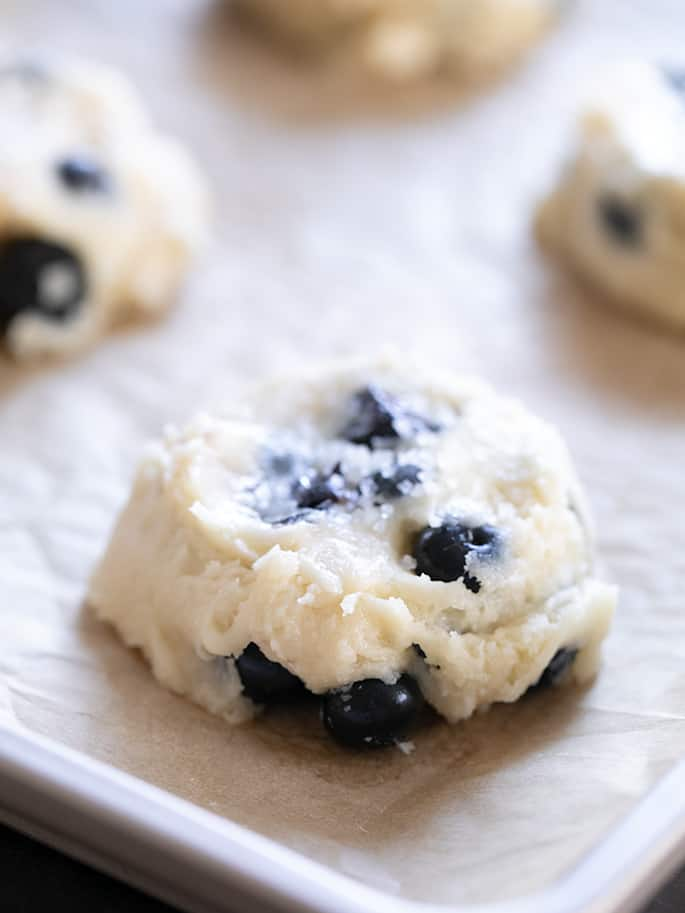 Gluten free Blueberry Muffin Tops raw on baking tray