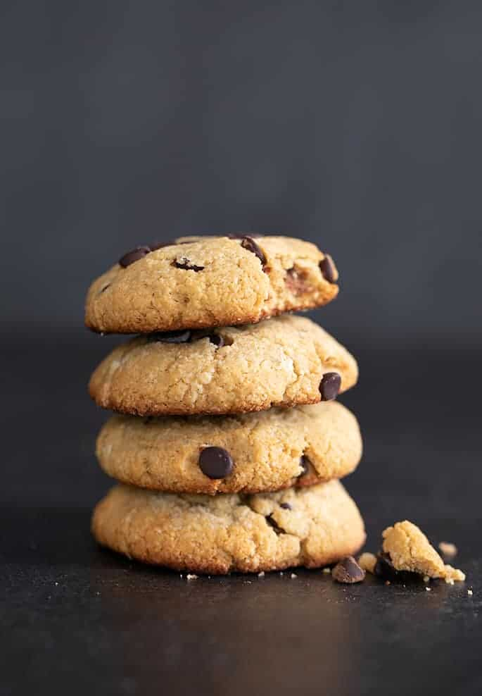 Chocolate chip protein cookies stack of cookies with the top one broken.