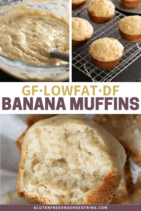 Naturally dairy free gluten free banana muffins made without any butter or oil, but still tender and delicious. One bowl, 30 minutes start to finish!
