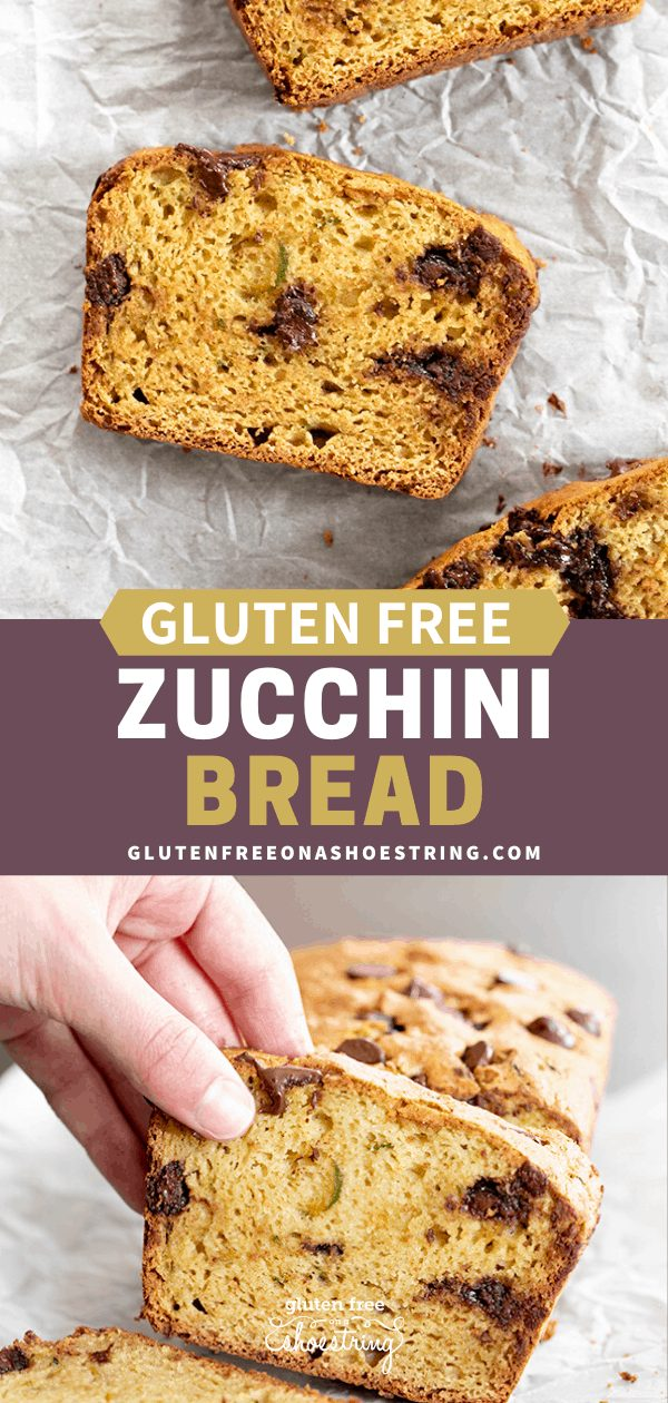 Two images of gluten free zucchini bread, one of a slice being grabbed by a hand, and one of three slices facing up.