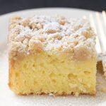 Sour cream coffee cake single slice on plate