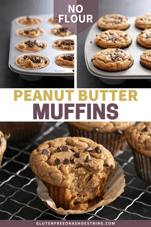 These easy flourless peanut butter muffins are tender and flavorful, are made with absolutely no flour, no dairy, and no banana. A true pantry recipe, made with just what you have on hand!