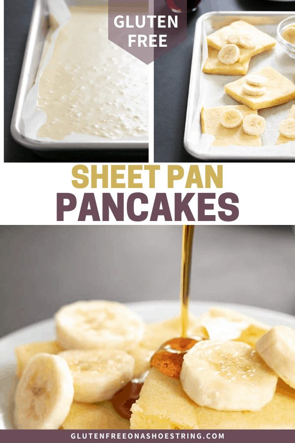 These gluten free pancakes made in a sheet pan are the easiest way to make pancakes for a crowd in minutes.