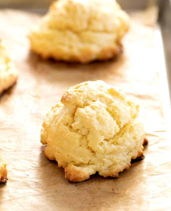 Closeup image of gluten free cream biscuits showing crisp outside.