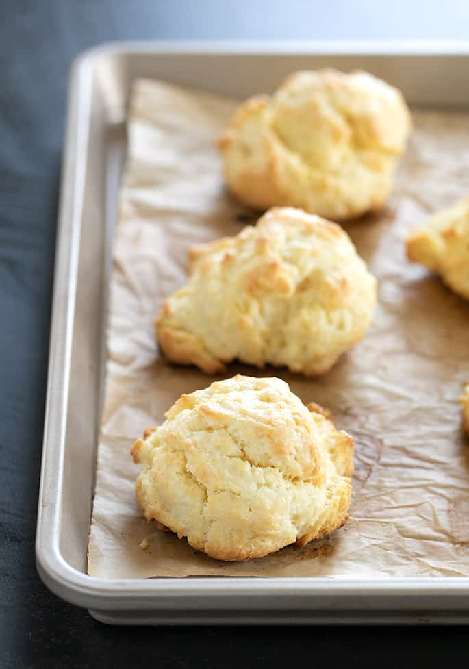 Gluten free cream biscuits just baked on a tray